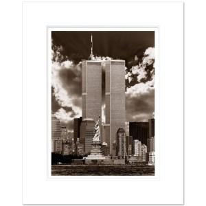 World Trade Center and Staue of Liberty New York City Sepia WTCS004 MW1620