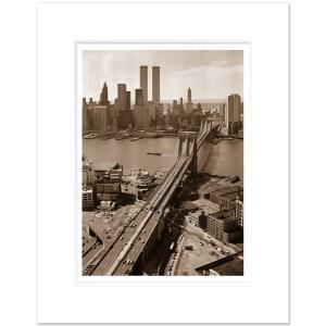 BBS010-Brooklyn-Bridge-WTC-NYC-Art-Print Sepia-1978-MW1620