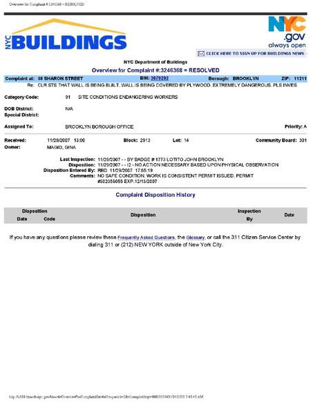 DOB Complaint 38 Sharon Street
