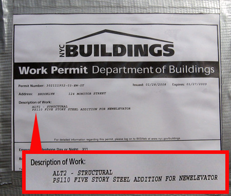 DOB Permit 124 Monitor Street