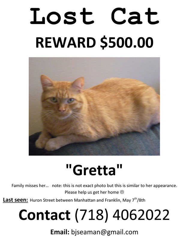 Microsoft Word - Gretta lost cat poster flyer.doc