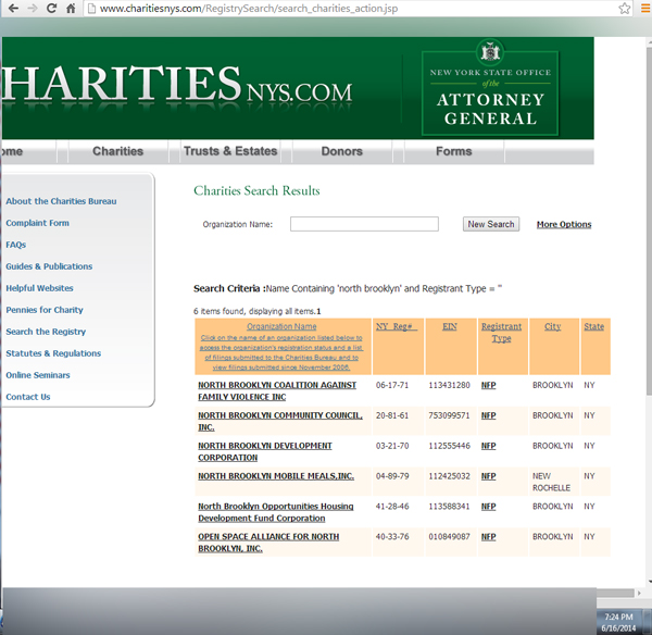 NYS state charities database