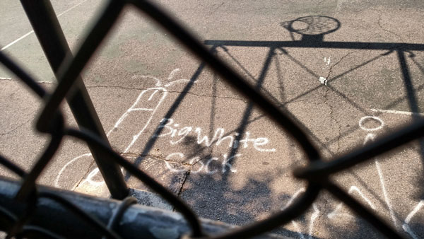 Big White Cock Basketball Court at Vincent V Abate Playground nys