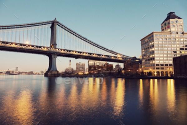 Manhattan Bridge in New York at evening
