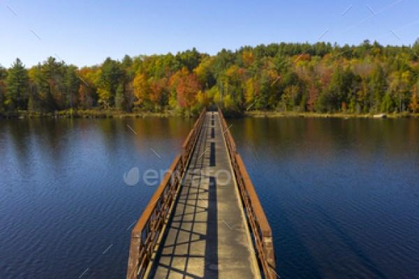 Pedestrian Bridge Lake Crossing Adirondack State Park New York