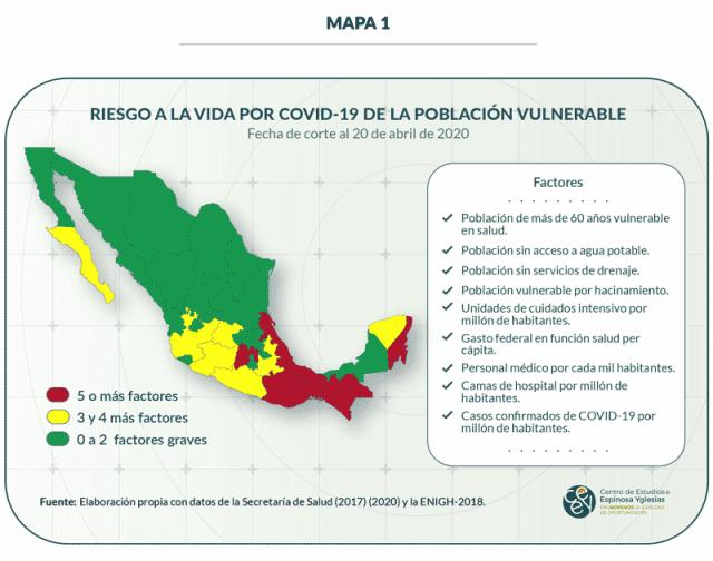Mapa 1. Riesgo a la vida por COVID-19 de la población vulnerable