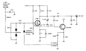 Varactor  tuned 10MHz ceramic resonator oscillator