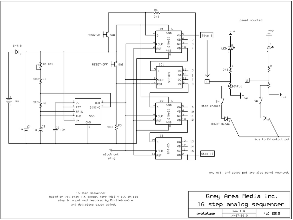 16 Step Sequencer Schematic Under Repository Circuits