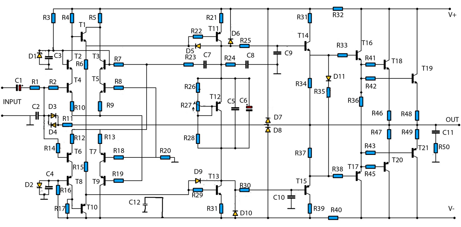 W High Power Audio Amplifier Under Repository Circuits