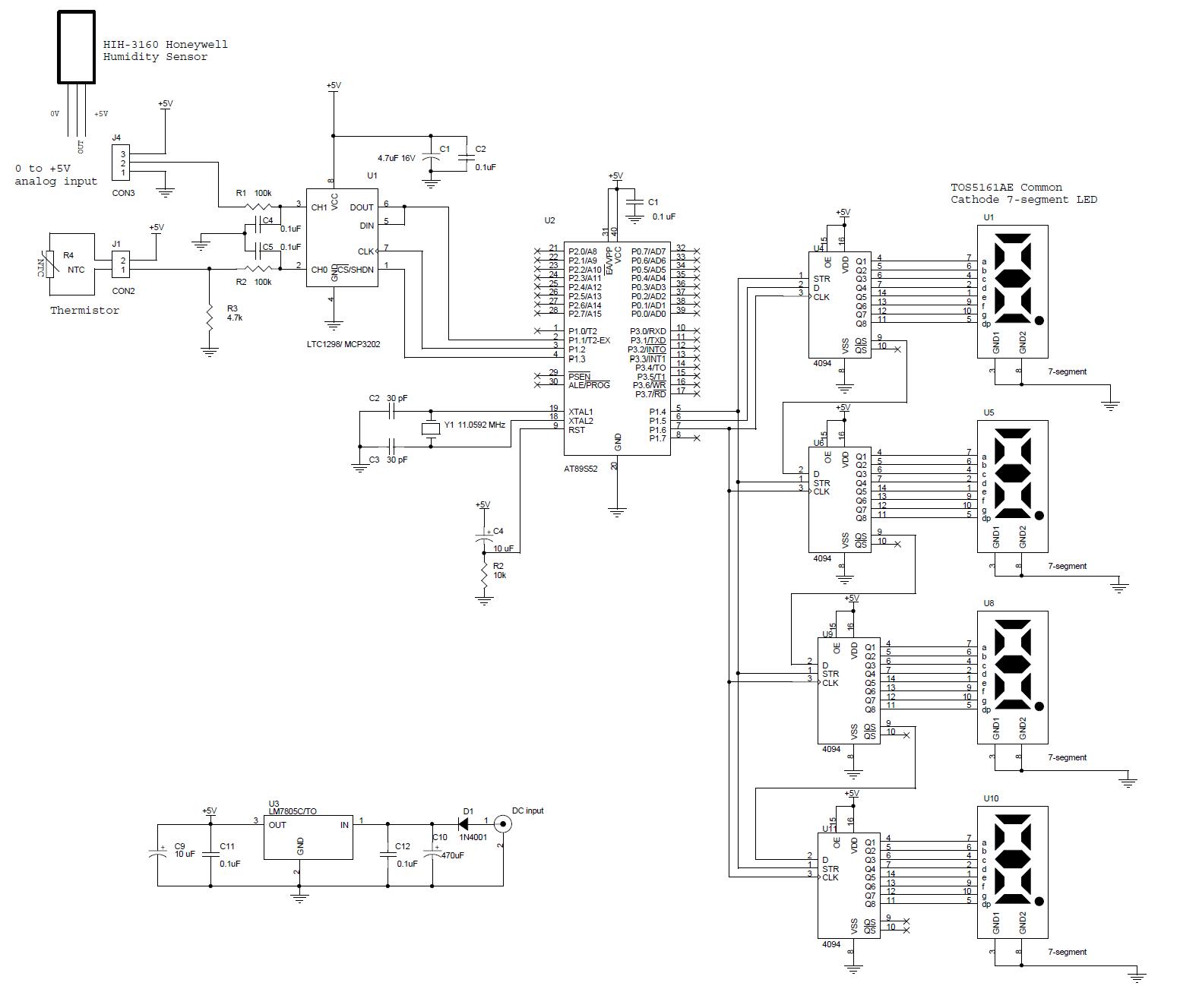 Rangkaian Thermometer Berbasis Mikrokontroler At89s52