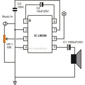 simple example circuits for the lm386 ic audio amplifier under Repositorycircuits 34997 : Nextgr