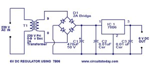 6 Volt regulator circuit using 7806Voltage regulator IC under Repositorycircuits 36976 : Nextgr