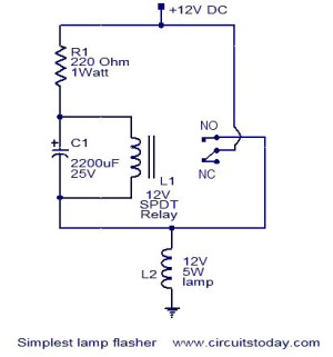 Simplest lamp flasher circuit under Repositorycircuits