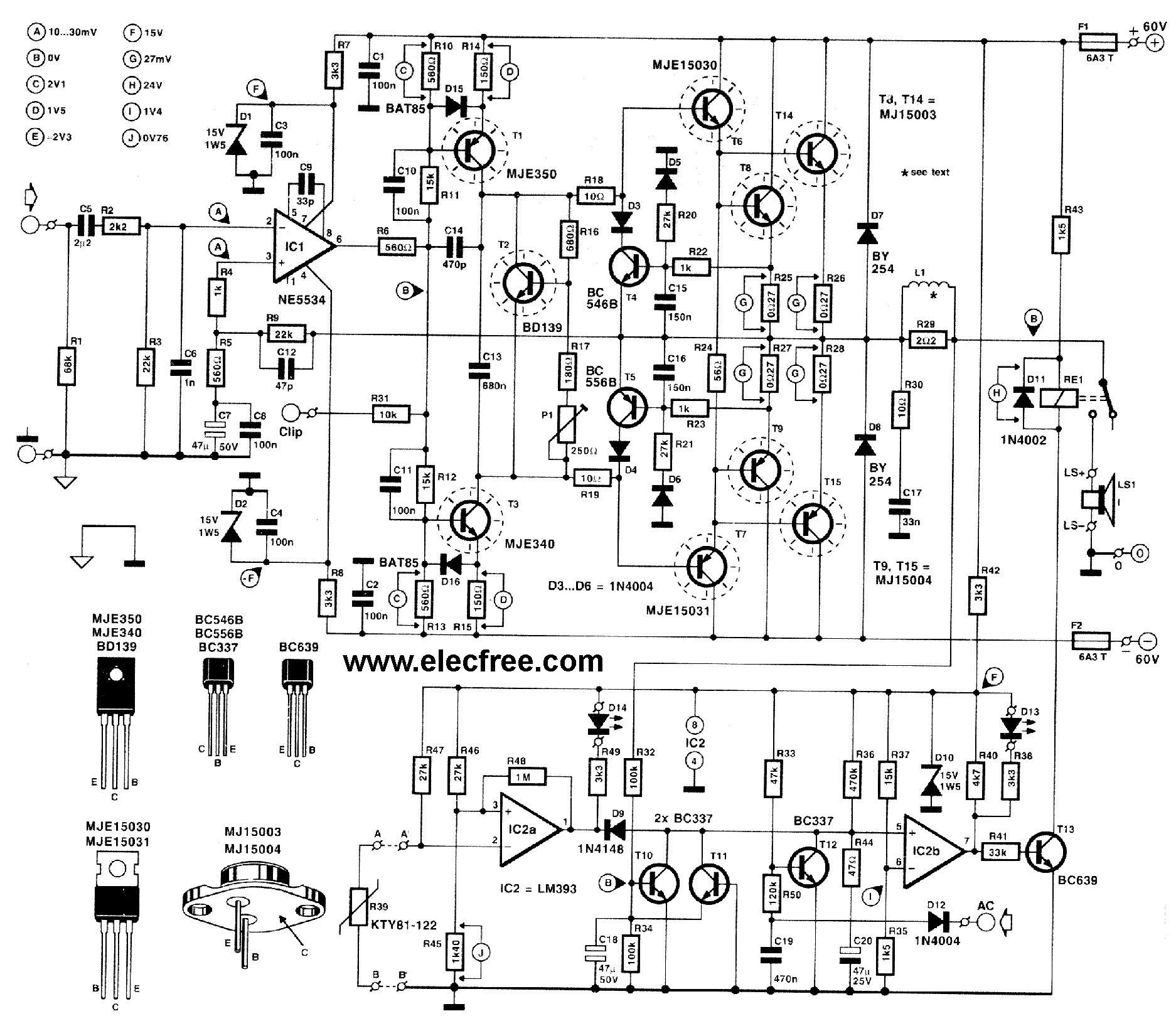 Gt Circuits Gt High Power Transistor Amplifier Circuits