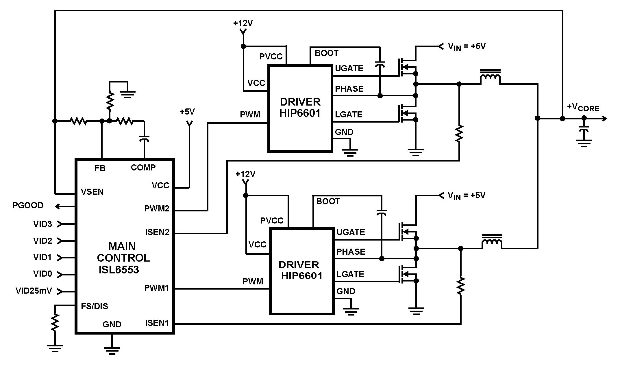 Gt Circuits Gt Isl Microprocessor Core Voltage Regulator 2 Phase Buck Pwm Controller L