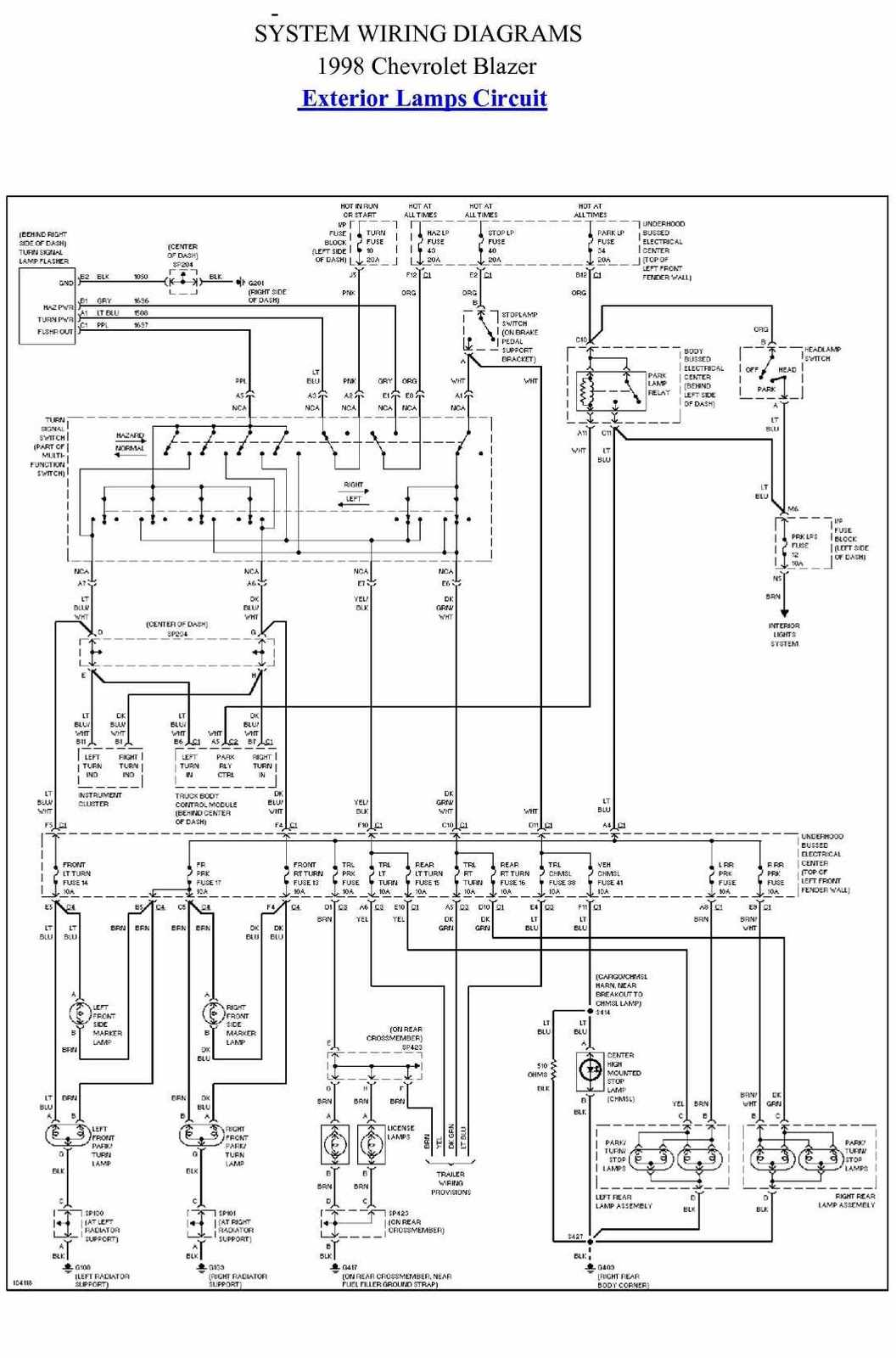 96 S10 Headlight Wiring Diagram