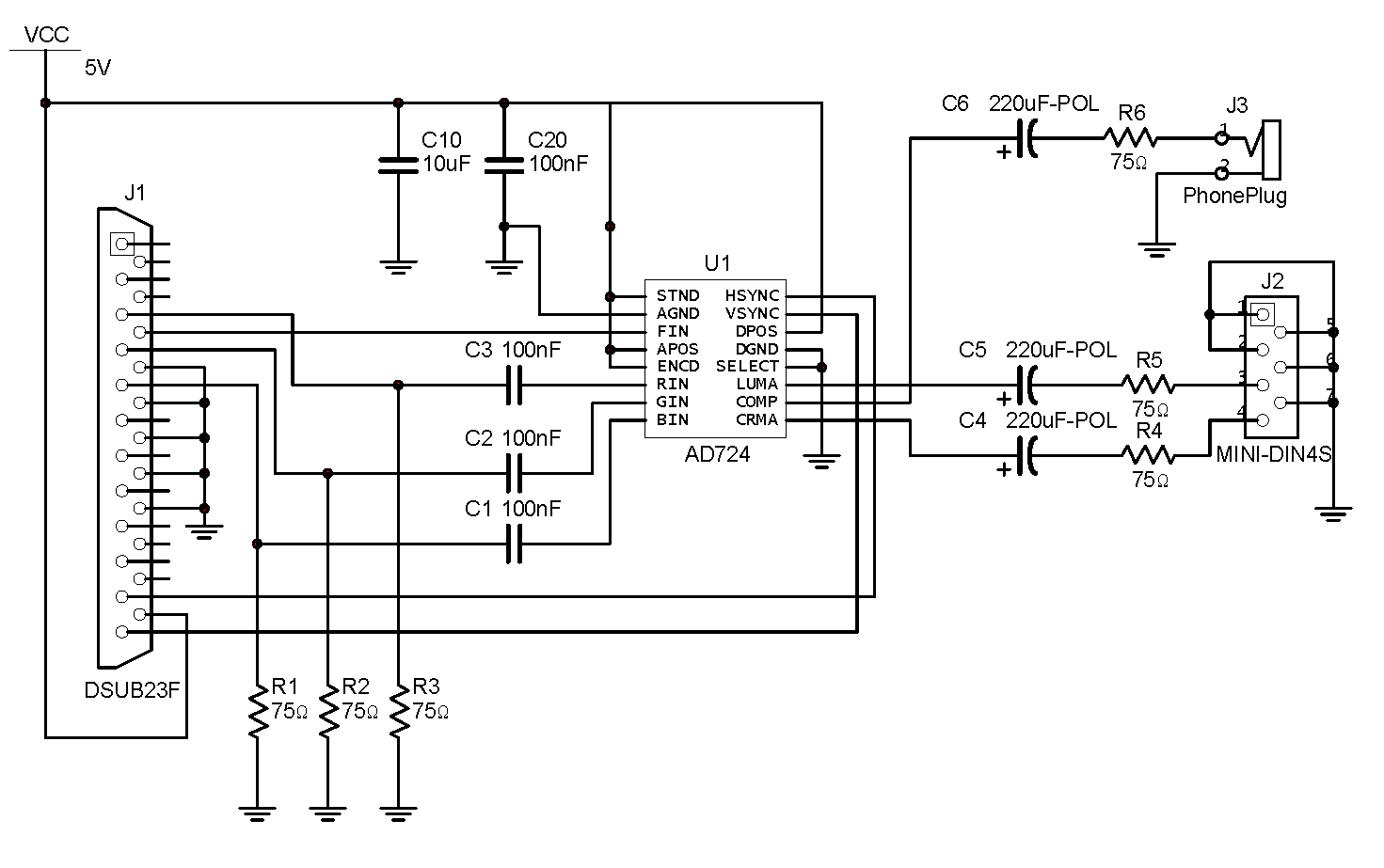Vacuum Fluorescent Display Clock Schematic