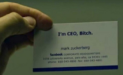 "Mark Zuckerberg business card from the movie ""The Social Network""."