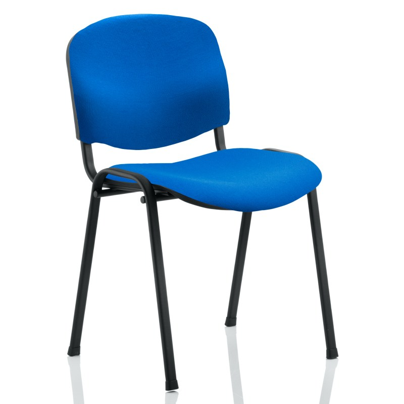 ISO Stacking Chair Blue Fabric Black Frame Without Arms