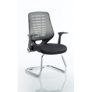 Relay Cantilever Airmesh Seat Silver Back With Arms