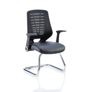 Relay Cantilever Leather Seat Black Back With Arms