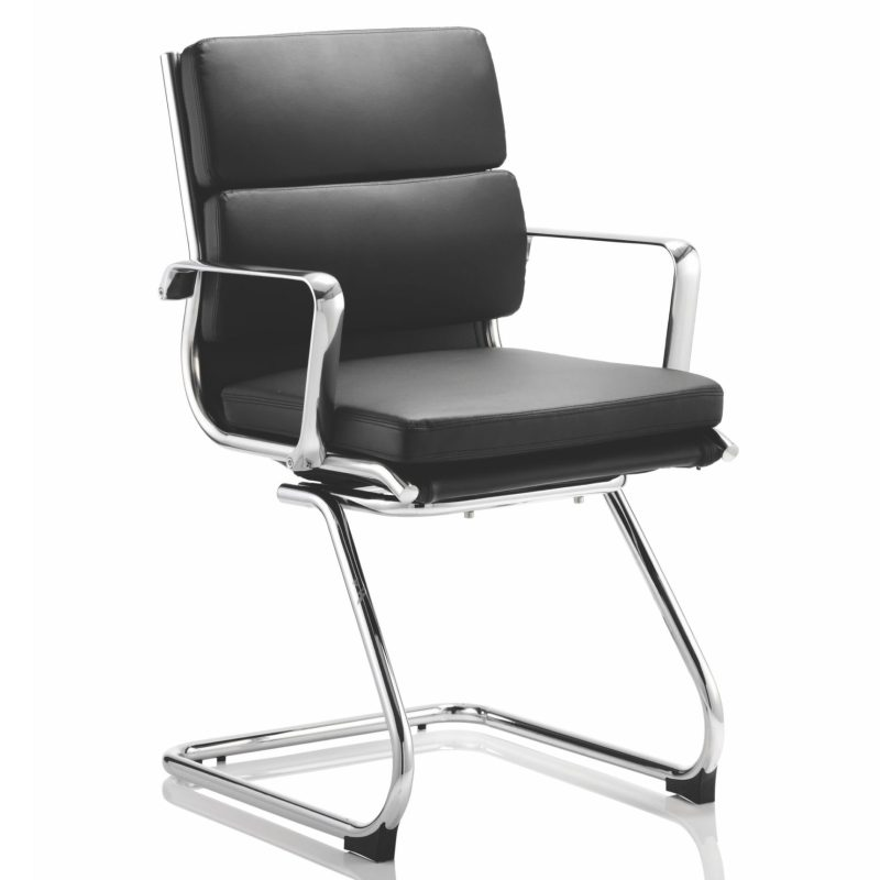 Savoy Cantilever Chair Black Bonded Leather With Arms