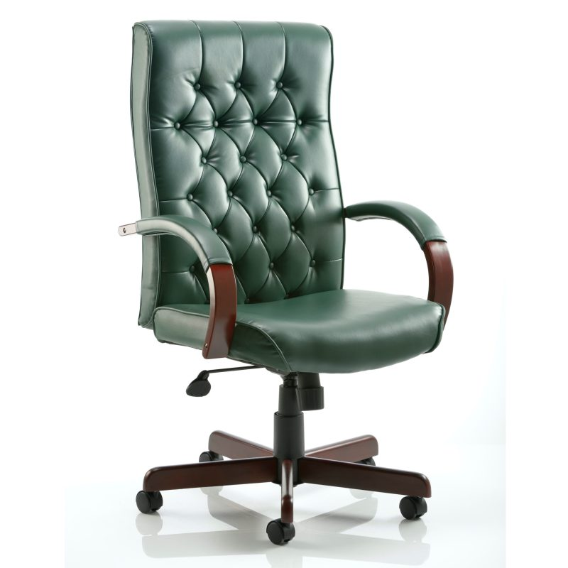 Chesterfield Executive Chair Green Leather With Arms