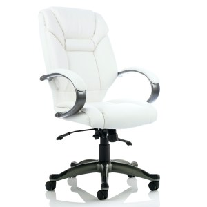 Galloway Executive Chair White Leather With Arms