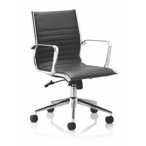 Ritz Executive Medium Back Chair Black Bonded Leather With Arms