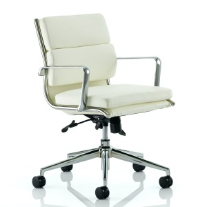 Savoy Executive Medium Back Chair Ivory Bonded Leather With Arms