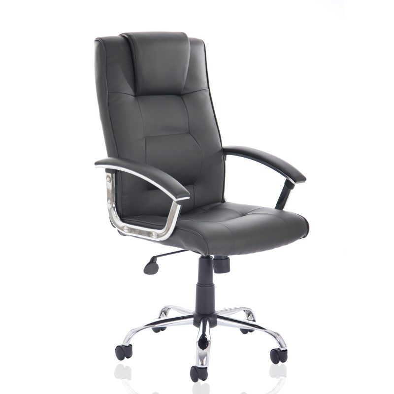 Thrift Executive Chair Black Bonded Leather With Padded Arms