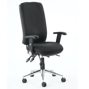 Chiro High Back Task Operators Chair Black With Height Adjustable And Folding Arms