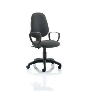 Eclipse II Lever Task Operator Chair Charcoal With Loop Arms