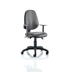 Eclipse III Lever Task Operator Chair Vinyl Black With Height Adjustable Arms