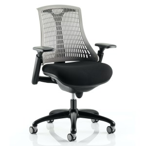 Flex Task Operator Chair Black Frame With Black Fabric Seat Grey Back With Arms