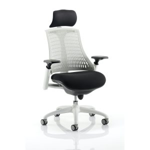 Flex Task Operator Chair White Frame Black Fabric Seat With Moonstone White Back With Arms With Headrest