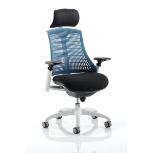 Flex Task Operator Chair White Frame Black Fabric Seat With Blue Back With Arms With Headrest