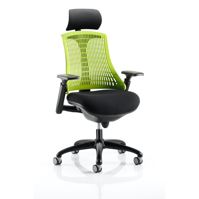 Flex Task Operator Chair Black Frame With Black Fabric Seat Green Back With Arms With Headrest