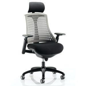 Flex Task Operator Chair Black Frame With Black Fabric Seat Grey Back With Arms With Headrest
