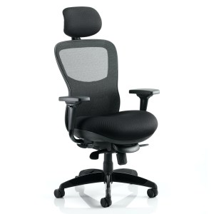 Stealth Shadow Ergo Posture Chair Black Airmesh Seat And Mesh Back With Arms With Headrest