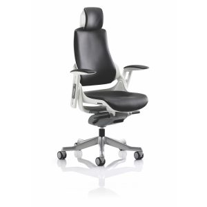 Zure Executive Chair Black Leather With Arms With Headrest