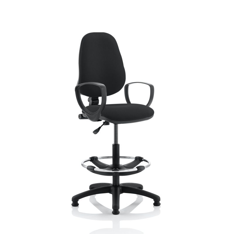 Eclipse I Lever Task Operator Chair Black With Loop Arms With Hi Rise Draughtsman Kit
