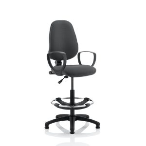 Eclipse I Lever Task Operator Chair Charcoal With Loop Arms With Hi Rise Draughtsman Kit