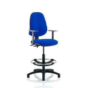 Eclipse II Lever Task Operator Chair Blue With Height Adjustable Arms With Hi Rise Draughtsman Kit