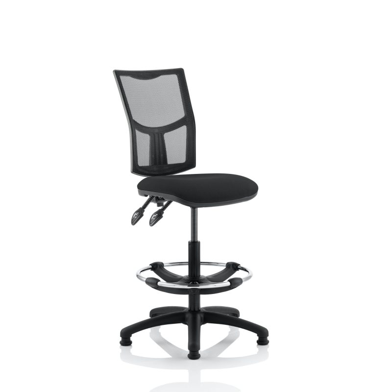 Eclipse II Lever Task Operator Chair Mesh Back With Black Seat With Hi Rise Draughtsman Kit