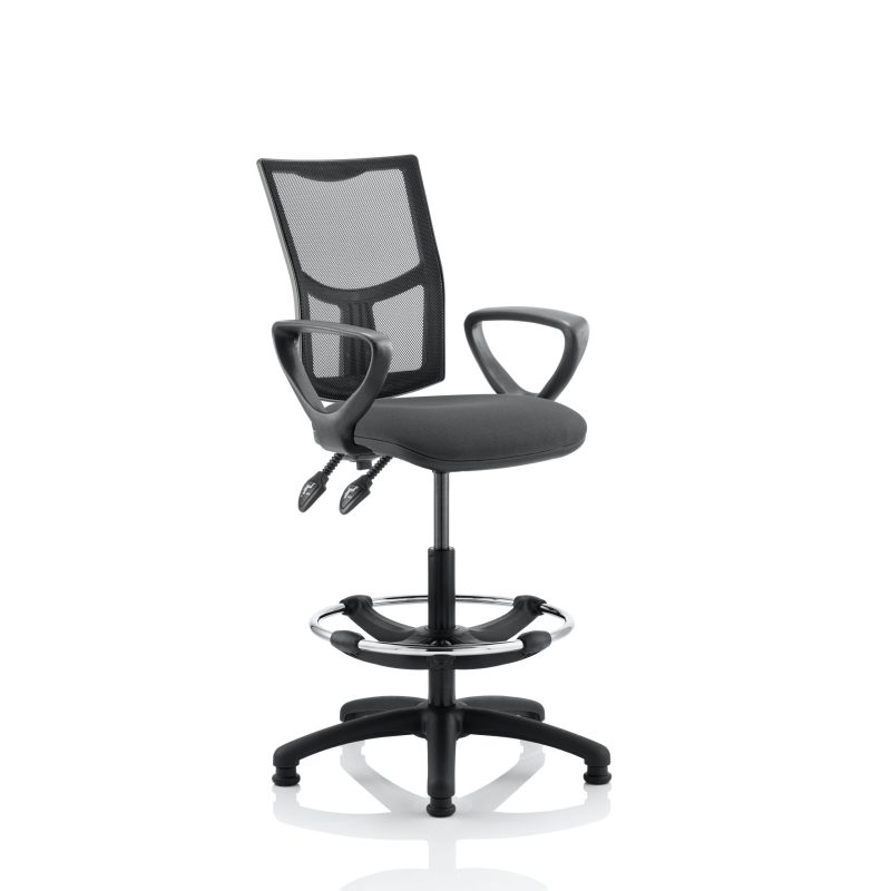 Eclipse II Lever Task Operator Chair Mesh Back With Charcoal Seat With loop Arms With Hi Rise Draughtsman Kit