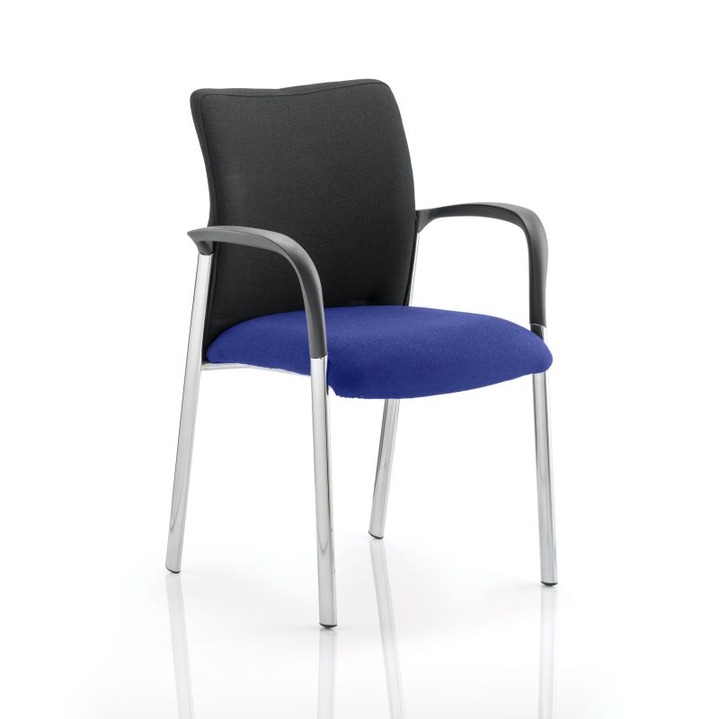 Academy Black Fabric Back Bespoke Colour Seat With Arms Stevia Blue