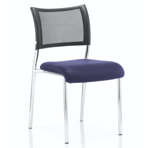 Brunswick No Arm Bespoke Colour Seat Chrome Frame Stevia Blue