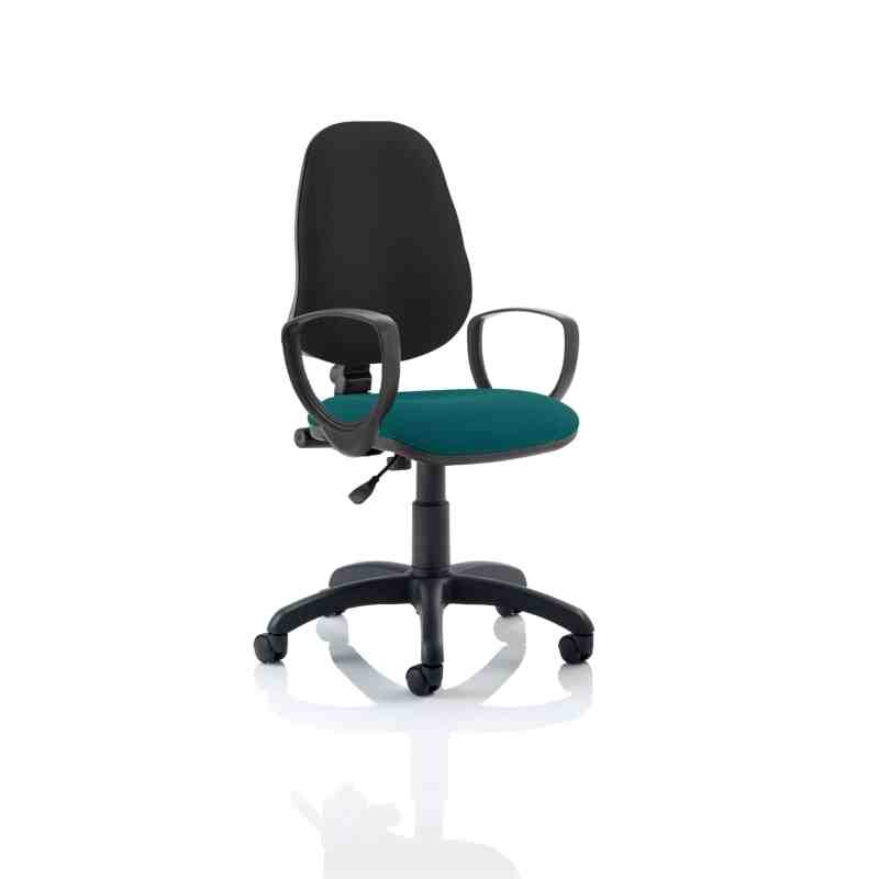 Eclipse I Lever Task Operator Chair Black Back Bespoke Seat With Loop Arms In Maringa Teal
