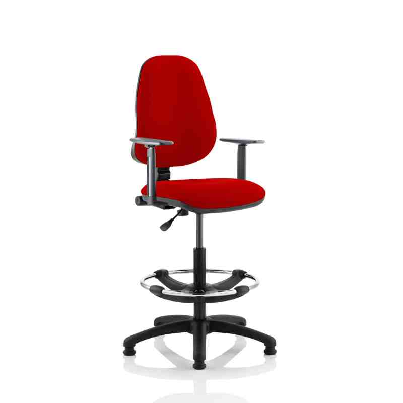Eclipse I Lever Task Operator Chair Bergamot Cherry Fully Bespoke Colour With Height Adjustable Arms with Hi Rise Draughtsman Kit